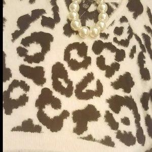 Leopard print bubble sweater